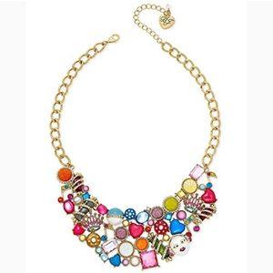 Betsy Johnson Gold Multi Color Charm Bib Necklace